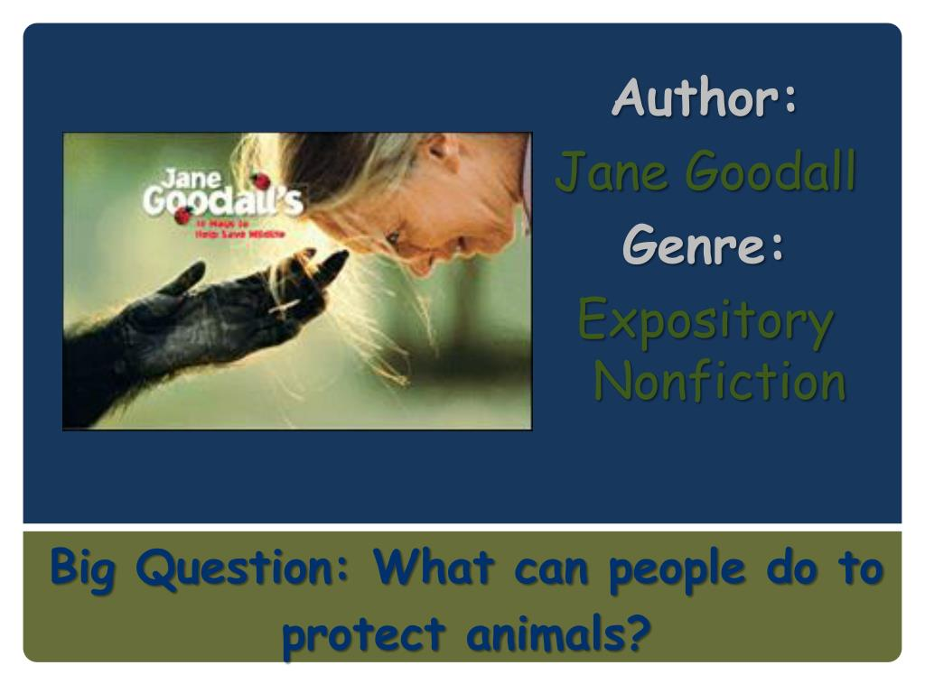 author jane goodall genre expository nonfiction l.
