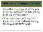 author s viewpoint bias