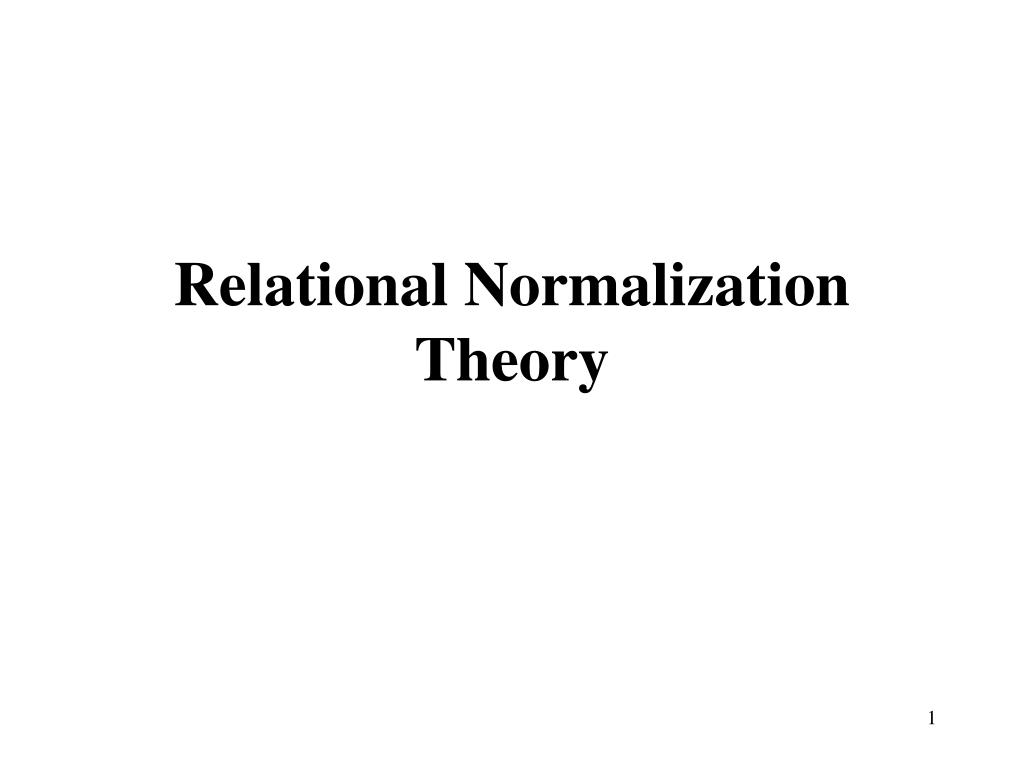 relational normalization theory l.