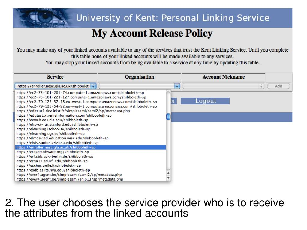 2. The user chooses the service provider who is to receive the attributes from the linked accounts