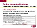 online loan applications general purpose applications for arms