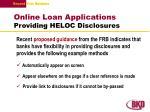 online loan applications providing heloc disclosures