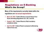 regulations on e banking what s the scoop