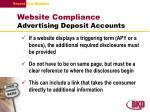 website compliance advertising deposit accounts