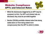 website compliance apys and interest rates