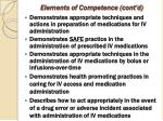 elements of competence cont d