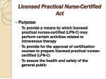 licensed practical nurse certified act