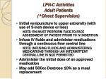 lpn c activities adult patients direct supervision