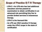 scope of practice r t iv therapy