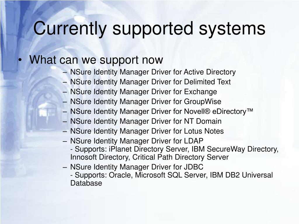 Currently supported systems