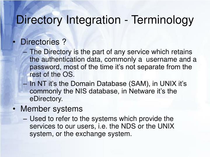 Directory integration terminology