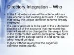 directory integration who