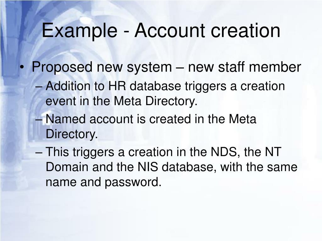 Example - Account creation
