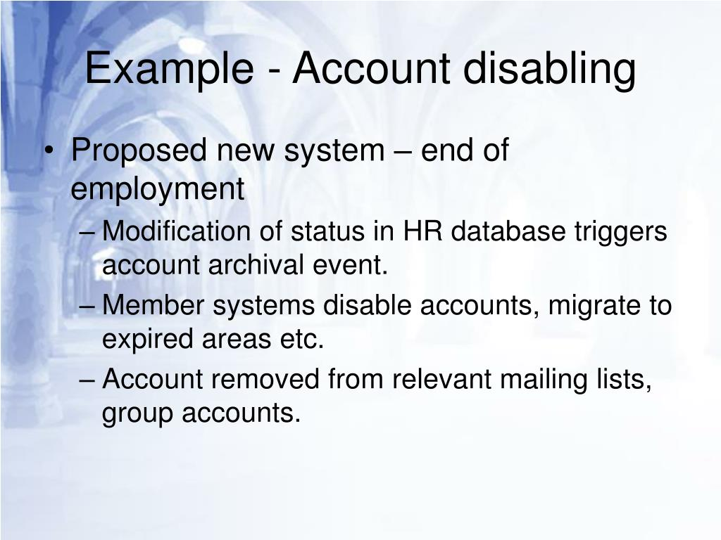 Example - Account disabling