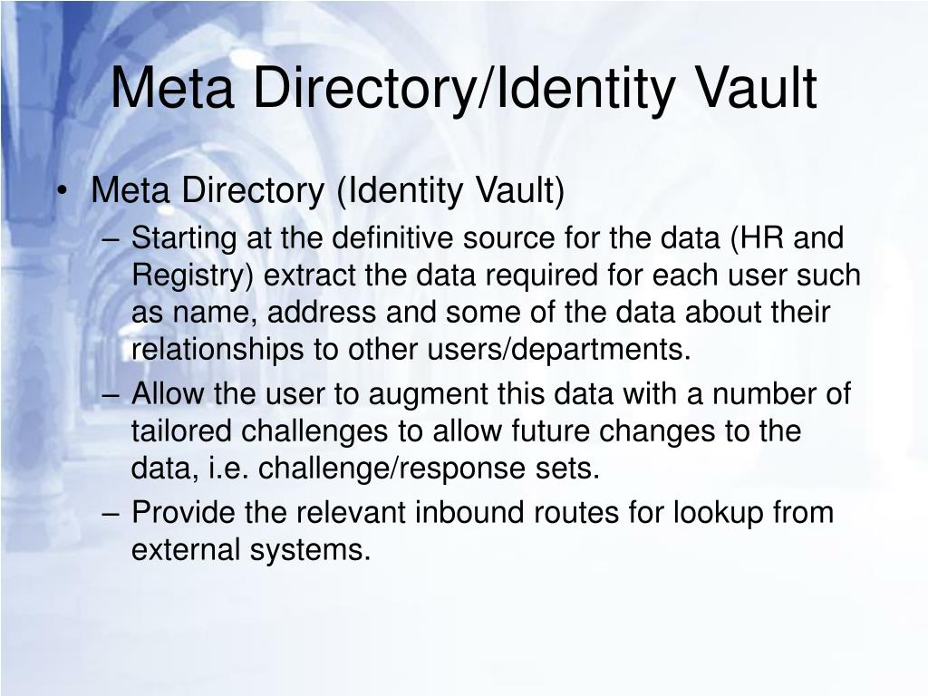 Meta Directory/Identity Vault