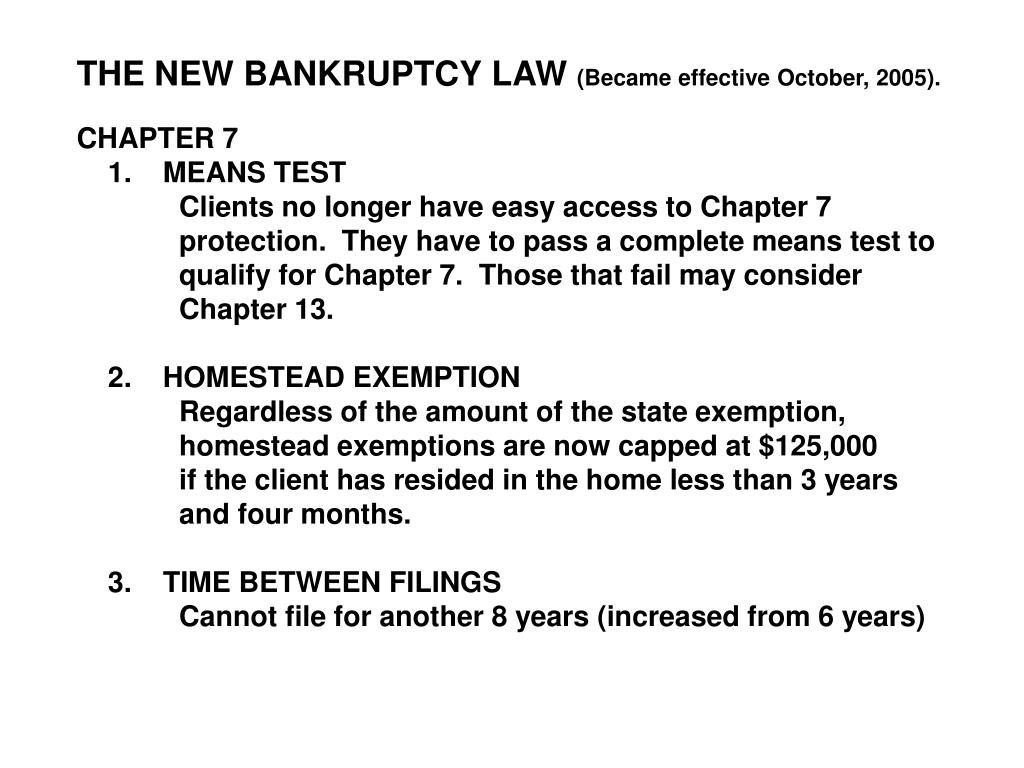 THE NEW BANKRUPTCY LAW