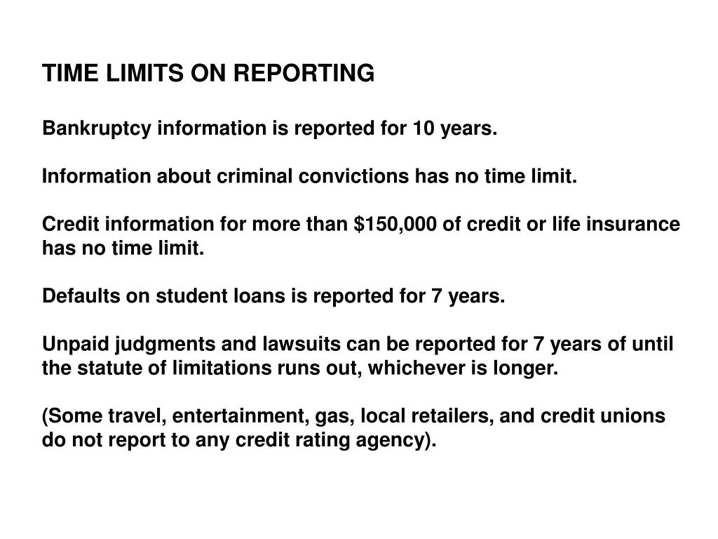 TIME LIMITS ON REPORTING