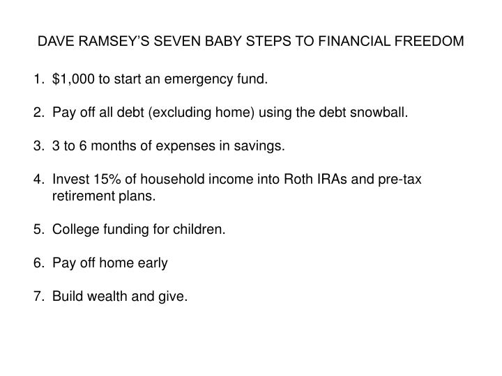 DAVE RAMSEY'S SEVEN BABY STEPS TO FINANCIAL FREEDOM