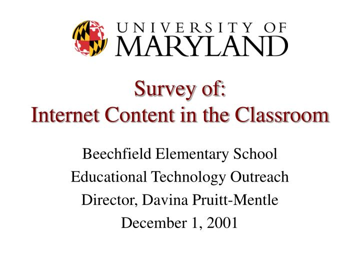 survey of internet content in the classroom n.