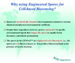why using engineered spores for cell based biosensing