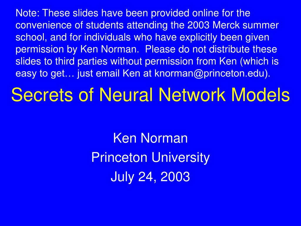 secrets of neural network models l.