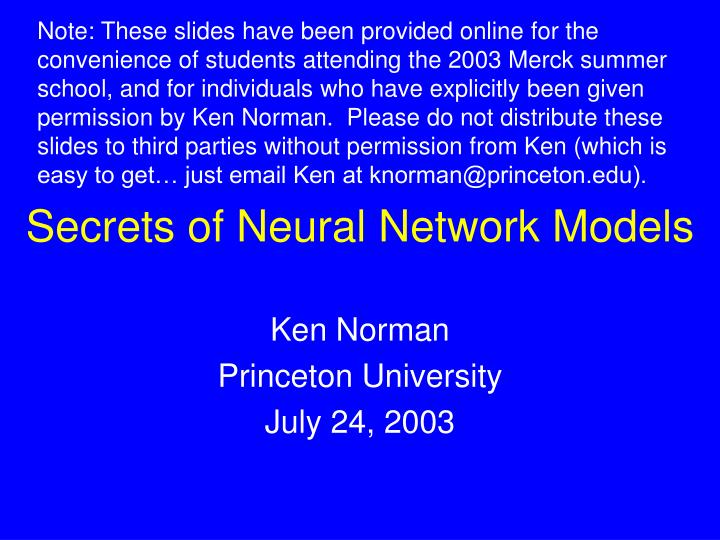 secrets of neural network models n.