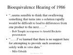 bioequivalence hearing of 1986