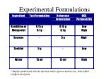 experimental formulations