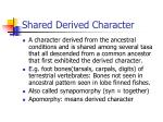 shared derived character