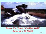 bexar co texas catfish well flows at 30 mgd