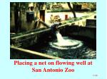 placing a net on flowing well at san antonio zoo