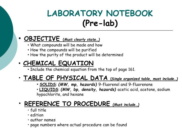 laboratory notebook pre lab n.