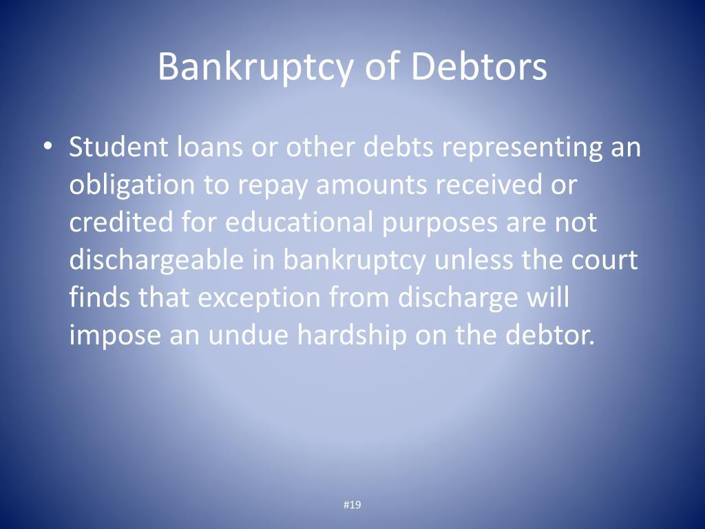 Bankruptcy of Debtors