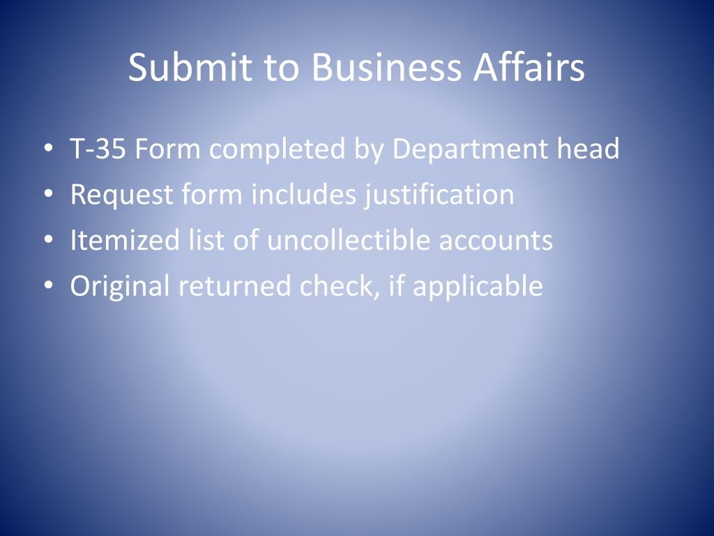 Submit to Business Affairs
