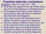 transition state lab conclusions