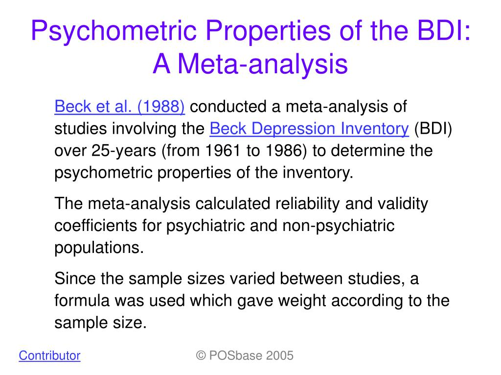 psychometric properties of the bdi a meta analysis l.