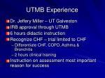 utmb experience