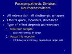 parasympathetic division neurotransmitters