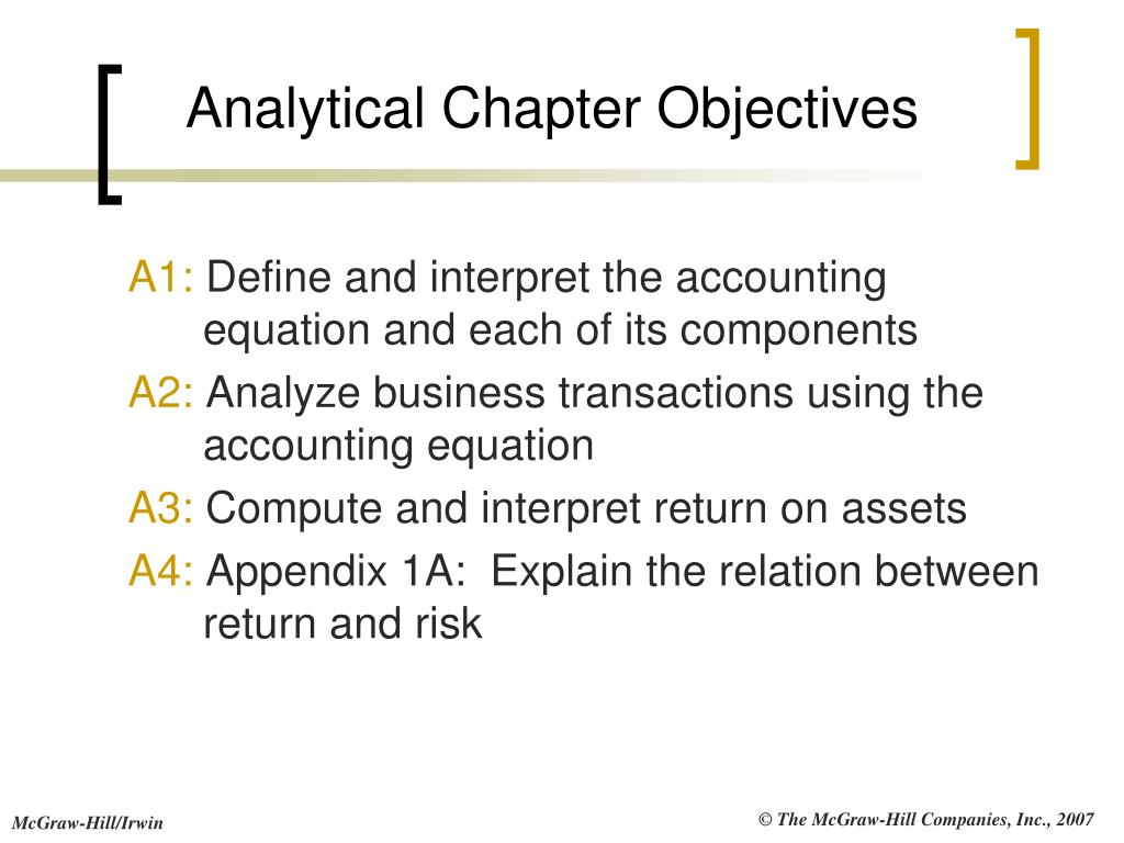 Analytical Chapter Objectives