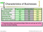 characteristics of businesses