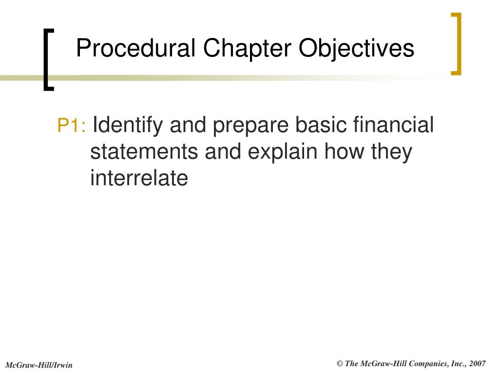 Procedural Chapter Objectives
