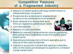 competitive features of a fragmented industry