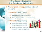 end game strategies for declining industries