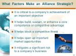 what factors make an alliance strategic