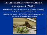 the australian institute of animal management aiam