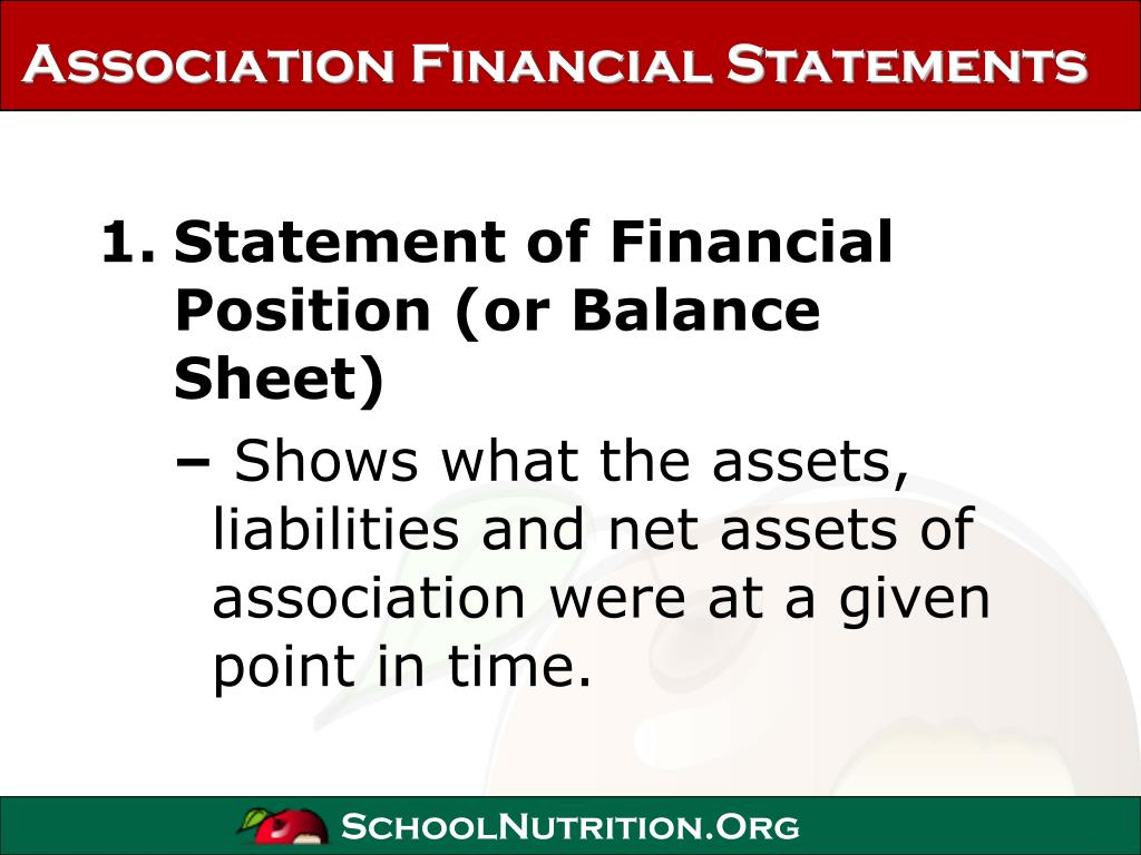 Association Financial Statements