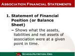 association financial statements