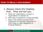 how to read a statement