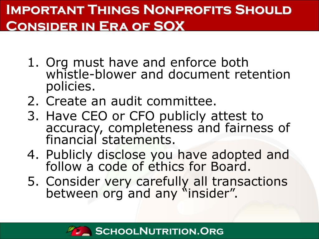 Important Things Nonprofits Should Consider in Era of SOX