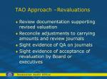 tao approach revaluations